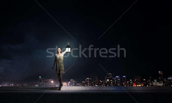 Dziewczyna stracił ciemności młoda kobieta zielone sukienka Zdjęcia stock © adam121