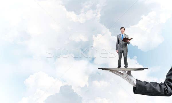 üzletember fém tálca piros könyv kezek Stock fotó © adam121