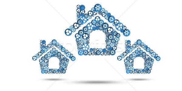 Immobilier construction idée maison icône fond blanc Photo stock © adam121