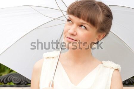 Belo mulher jovem branco guarda-chuva verão parque Foto stock © adam121