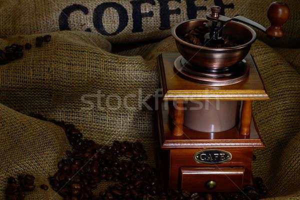 кофе мельница бобов брезент натюрморт древесины Сток-фото © adam121