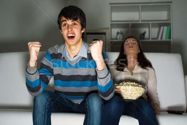 guy with a passion watching TV Stock photo © adam121
