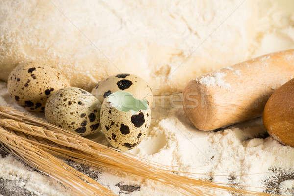 Liszt tojások fehér kenyér búza fülek csendélet Stock fotó © adam121