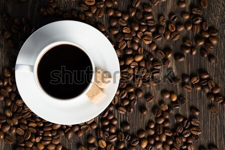 Kubek kawa czarna sztuk cukier trzcinowy fotele około Zdjęcia stock © adam121