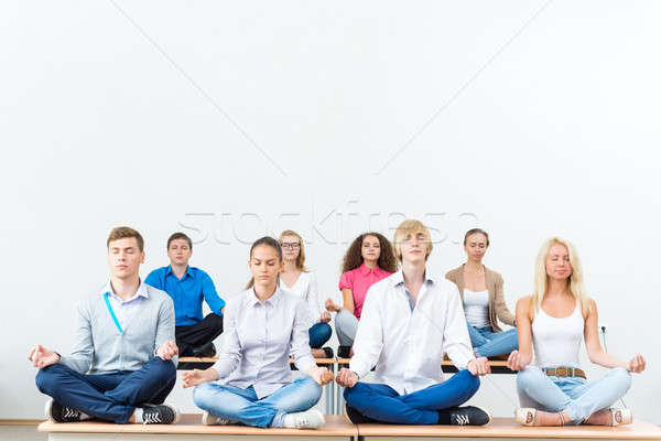 group of young people meditating Stock photo © adam121