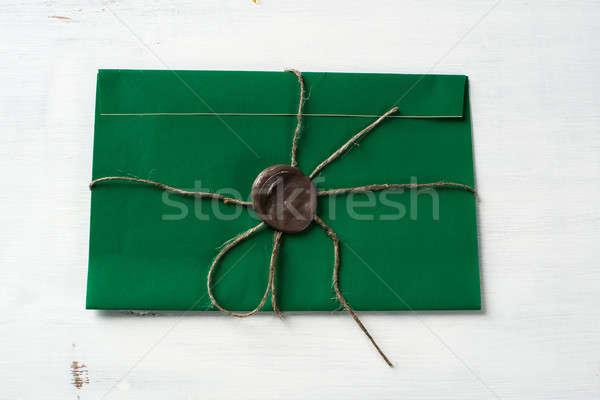 Carta sello mesa verde dotación cera Foto stock © adam121