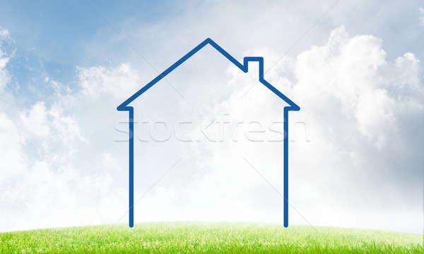 Domu niebo krajobraz rysunku nieruchomości symbol Zdjęcia stock © adam121