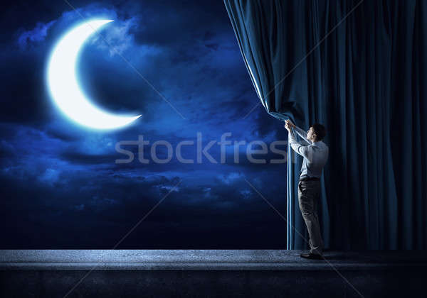 Night sky behind curtain Stock photo © adam121