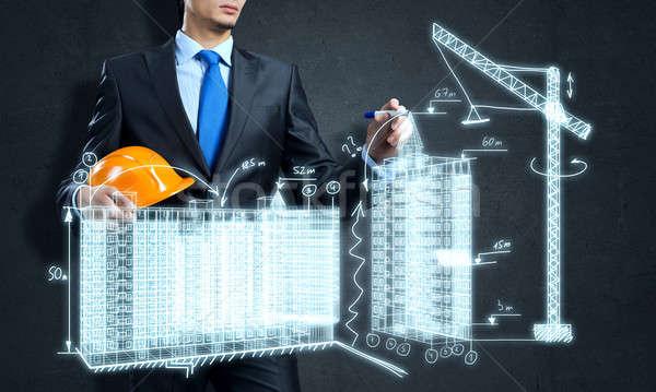 építőipar fiatalember mérnök rajz építkezés projekt Stock fotó © adam121