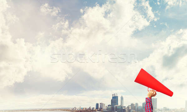 Hand vrouw Rood papier trompet Stockfoto © adam121