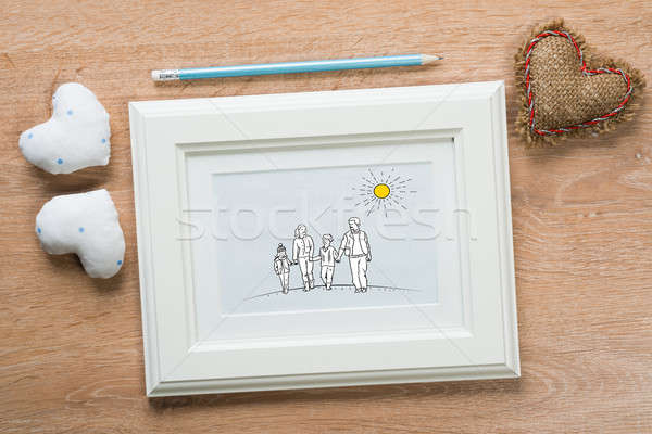 Stock fotó: Pillanatok · fényképkeret · boldog · család · rajz · fa · asztal · gyerekek