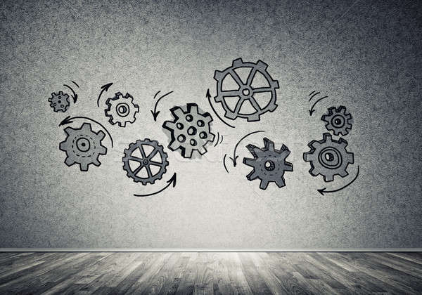 Gear механизм команде рисованной серый стены Сток-фото © adam121