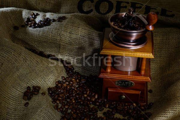 Kávé malom bab zsákvászon csendélet fa Stock fotó © adam121