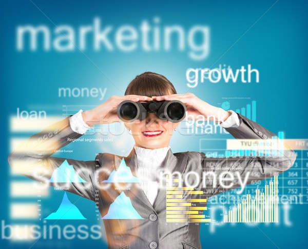 business woman looking through binoculars Stock photo © adam121