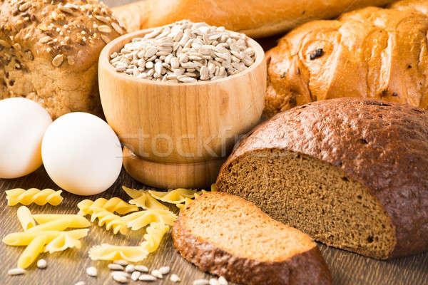 Friss kenyér tojások tészta magvak szakács Stock fotó © adam121