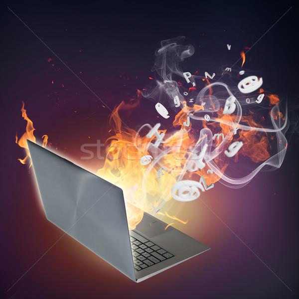 Komputera uszkodzenie obraz laptop palenie płomienie Zdjęcia stock © adam121