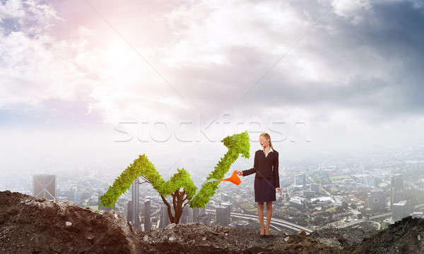 деньги расти молодые привлекательный деловая женщина Сток-фото © adam121