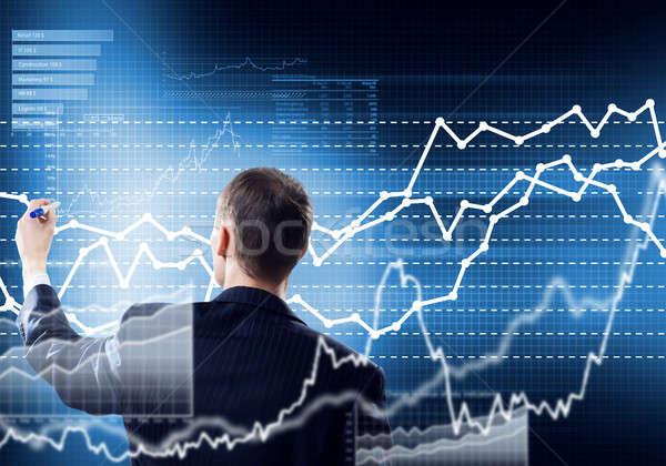 üzletember rajz grafikonok fiatal ül szék Stock fotó © adam121