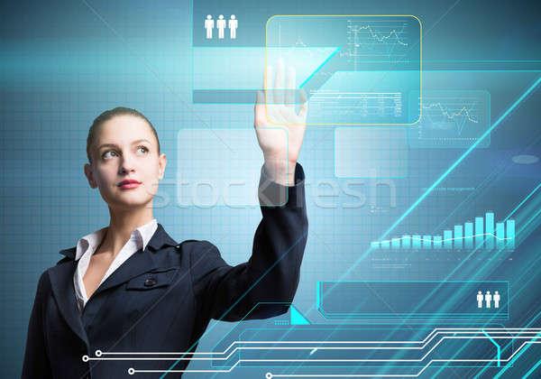 Innovador bastante mujer de negocios de trabajo virtual Foto stock © adam121