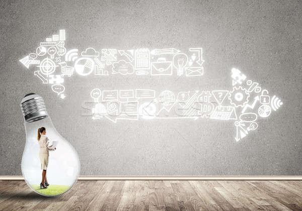 女性実業家 閉じ込められた 電球 電球 空っぽ ストックフォト © adam121