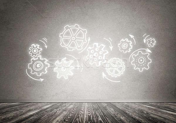 Engins mécanisme travail d'équipe dessinés à la main gris mur Photo stock © adam121