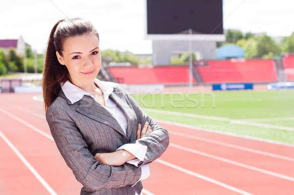 Portré gyönyörű üzletasszony sportok stadion verseny Stock fotó © adam121
