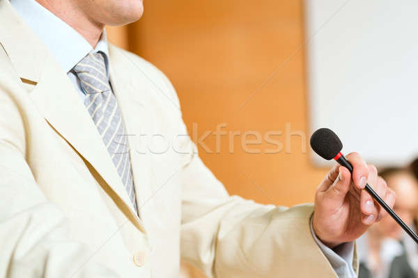 close-up microphone and presenter Stock photo © adam121
