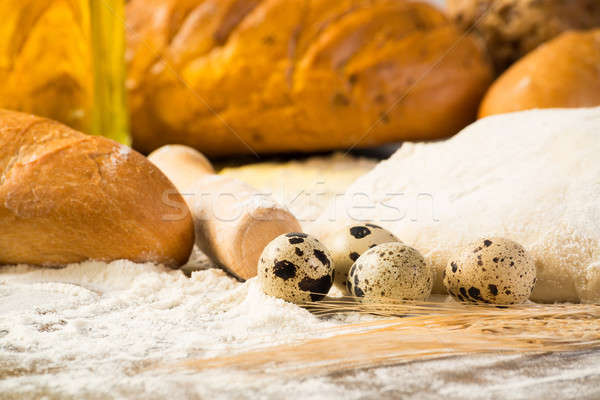 flour, eggs, white bread, wheat ears Stock photo © adam121