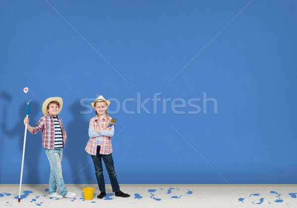 Kinderen afbeelding afgewerkt schilderij muur bouw Stockfoto © adam121