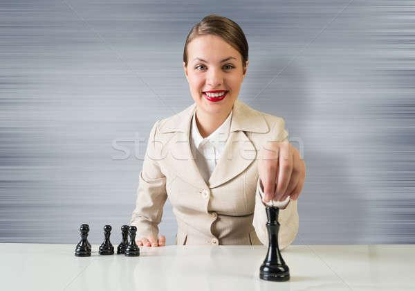 Estratégia de negócios jovem bastante empresária sessão tabela Foto stock © adam121