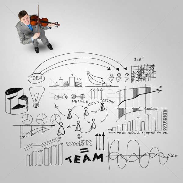 Imprenditore giocare successo melodia top view Foto d'archivio © adam121