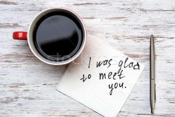 Romantyczny wiadomość napisany serwetka kubek kawy Zdjęcia stock © adam121