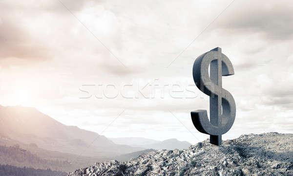 Geld rijkdom steen dollar symbool Stockfoto © adam121