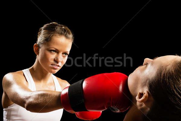 Kobieta boks agresywny przeciwnik głowie zdrowia Zdjęcia stock © adam121