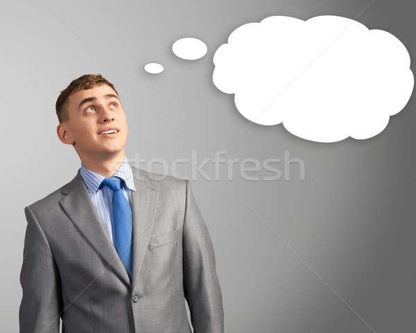 Hombre de negocios pensamiento nube cabeza empresario pensamientos Foto stock © adam121