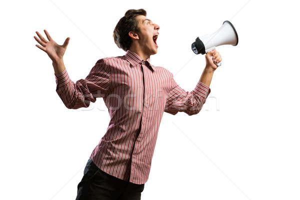 Człowiek megafon odizolowany biały Język wykonawczej Zdjęcia stock © adam121