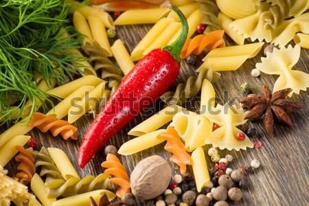 İtalyan spagetti sebze makarna baharatlar natürmort Stok fotoğraf © adam121