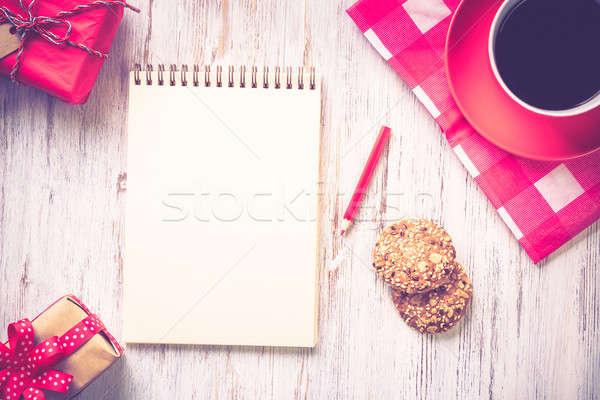 Stock fotó: Kávészünet · sütik · recept · notebook · kávéscsésze · felső