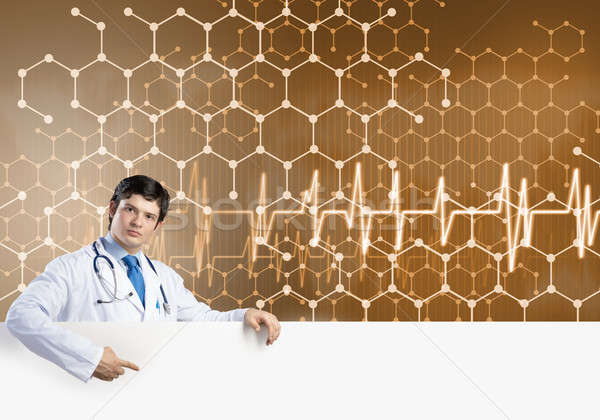 Doctor with banner Stock photo © adam121