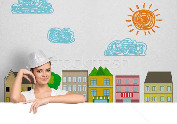 Ragazza banner ritratto giovani pretty woman Hat Foto d'archivio © adam121
