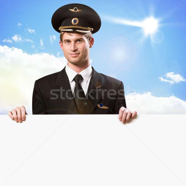 Piloot vorm lege billboard hemel Stockfoto © adam121