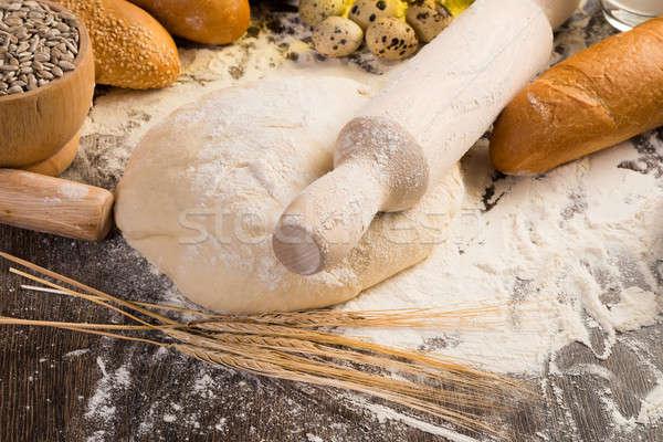 flour, eggs, white bread, wheat ears Stock photo © adam121