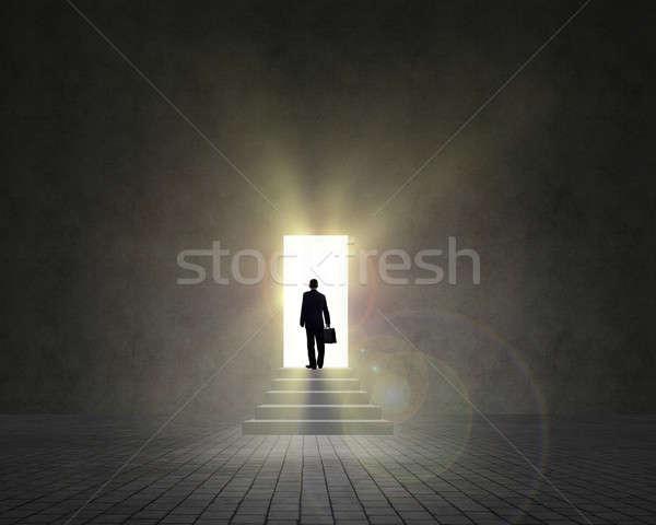 business man standing near an open door Stock photo © adam121