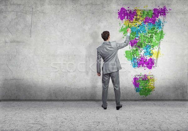 Сток-фото: творческое · мышление · вид · сзади · бизнесмен · рисунок · бизнеса · интернет