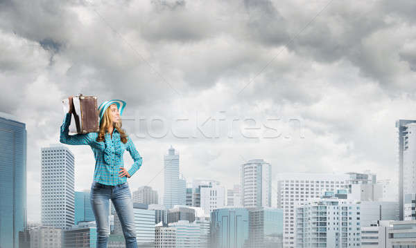 Attractive girl with old suitcase Stock photo © adam121
