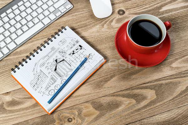üzlet munkahely jegyzettömb ötlet kávéscsésze billentyűzet Stock fotó © adam121