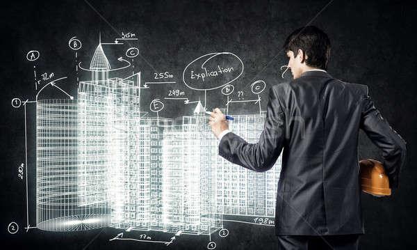 építőipar hátulnézet férfi mérnök rajz építkezés Stock fotó © adam121
