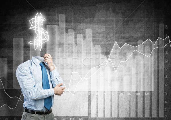 Altijd denken geld zakenman dollarteken financieren Stockfoto © adam121