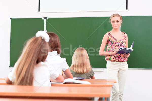 Tanár iskolás osztályterem diákok osztály lány Stock fotó © adam121