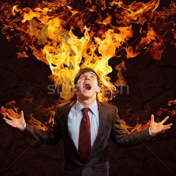 Violento homem furioso brasão pessoa Foto stock © adam121